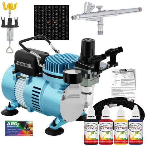 Cool Runner II Dual Fan Air Compressor Custom Body Art System with Gravity Feed Airbrush, 4 Color Temp Tattoo Paint Set, 100 Stencils, Self-Adhesive