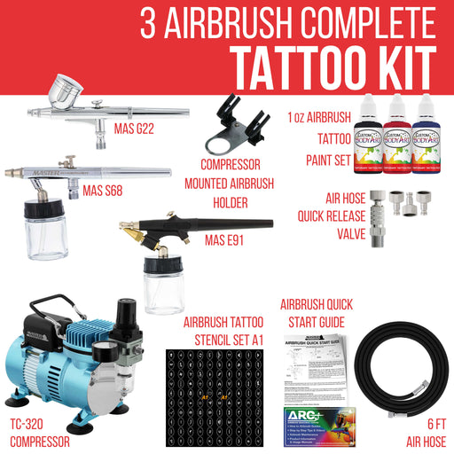 Cool Runner II Dual Fan Air Compressor Custom Body Art Airbrushing System with 3 Airbrush Sets, 3 Color Temp Tattoo Paint Set, 100 Stencils