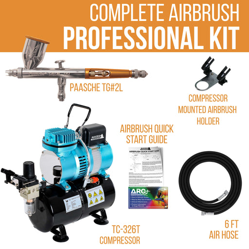 Talon TG Series Dual-Action Gravity Feed Airbrush Only with Cool Runner II Dual Fan Air Tank Compressor & Air Hose