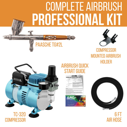 Talon TG Series Dual-Action Gravity Feed Airbrush Only with Master TC-20 Compressor & Air Hose