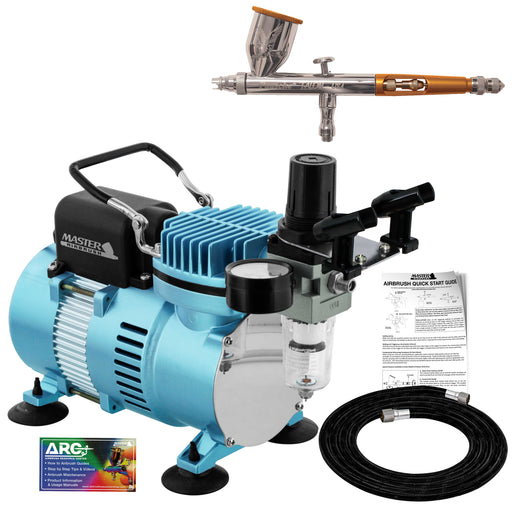 Talon TG Series Dual-Action Gravity Feed Airbrush Only with Cool Runner II Dual Fan Air Compressor & Air Hose