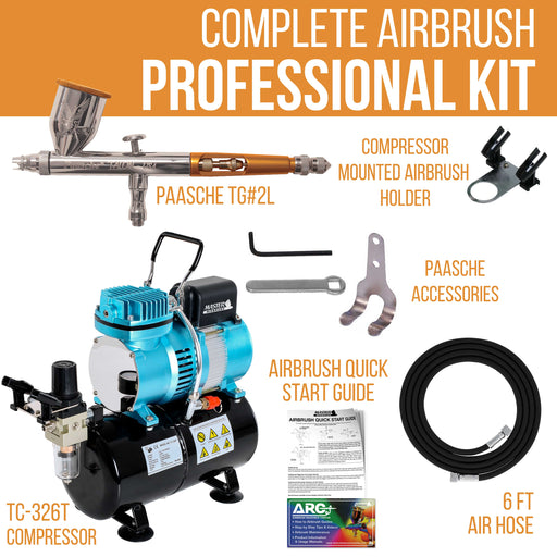 Talon TG Series Dual-Action Gravity Feed Airbrush Kit with Master TC-20T Compressor & Air Hose