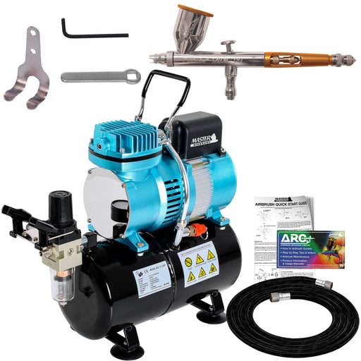 Talon TG Series Dual-Action Gravity Feed Airbrush Kit with Compressor with Air Storage Tank and Air Regulator with Gauge & Air Hose