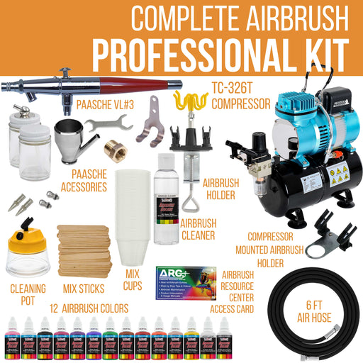Professional VL SET Airbrush Kit with Cool Runner II Dual Fan Air Storage Tank Compressor System, 12 Color Airbrush Paint Set and Accessories