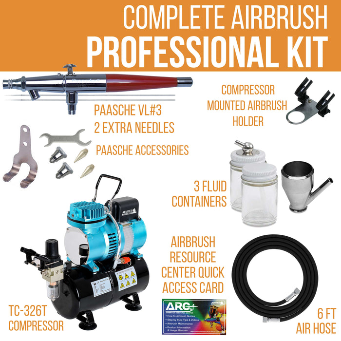 PAASCHE H-SET AIRBRUSH w//Quiet AIR COMPRESSOR with TANK