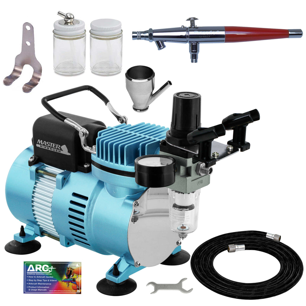 Paasche VL Series Dual-Action Siphon Feed Airbrush Kit with Cool Runner II Dual Fan Air Compressor System & Air Hose
