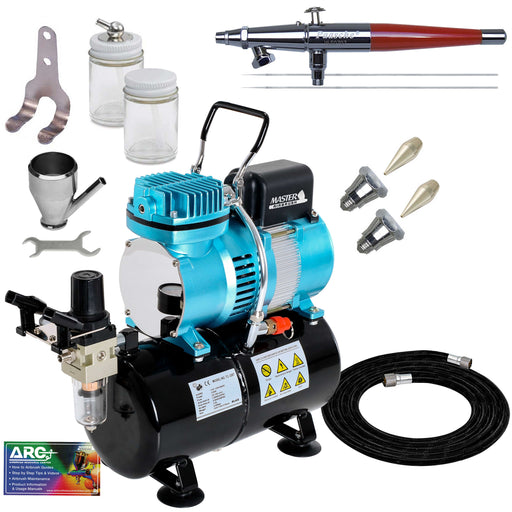 VLS Series Dual-Action Siphon Feed Airbrush Kit with Cool Runner II Dual Fan Air Compressor System & Air Hose