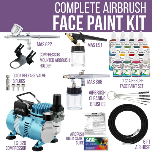 Professional 3 Airbrushing System Kit with 16 Color Water-Based Face & Body Paint Set, Cool Runner II Dual Fan Air Compressor