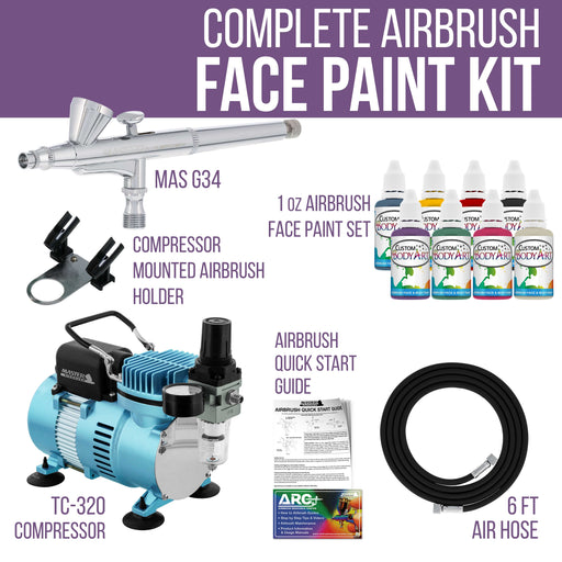 Airbrushing System Kit with 8 Color Water-Based Face & Body Art Paint Set, Cool Runner II Dual Fan Air Compressor - Washable Temporary Tattoo