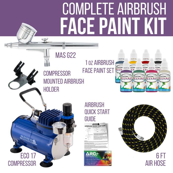 Face & Body Art Airbrush Kit with G22 Airbrush, Single-Piston Airbrush Air Compressor, Air Hose & 8 Custom Body Art Water Based Face Paint Colors