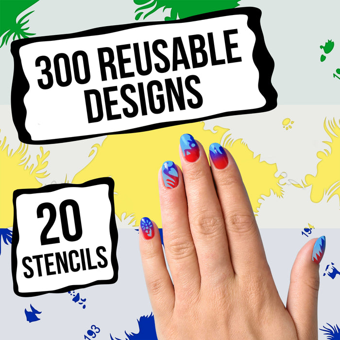 Airbrush Nail Stencils - Design Series Set # 10 Includes 20 Individual Nail Templates with 20 Designs each for a total of 400 Designs of Series #10