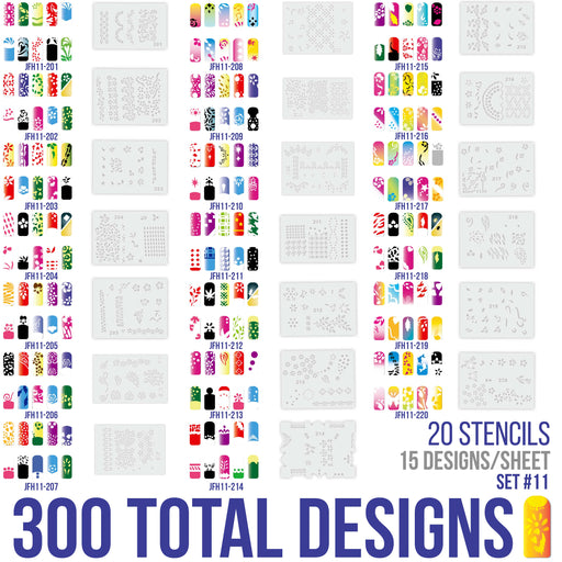 Airbrush Nail Stencils - Design Series Set # 11 Includes 20 Individual Nail Templates with 13 Designs each for a total of 260 Designs of Series #11