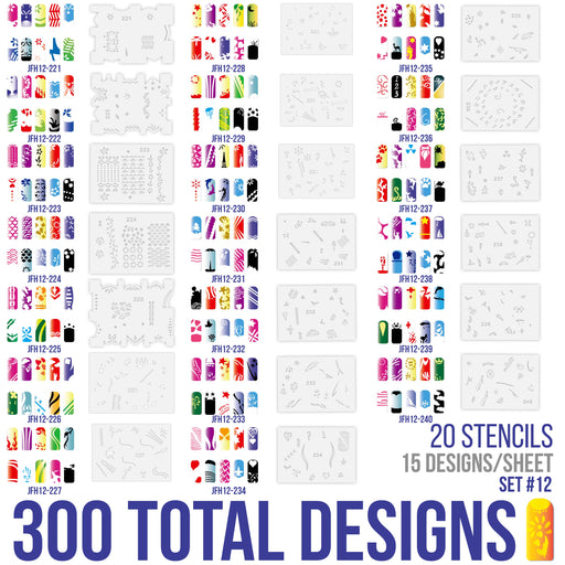 Airbrush Nail Stencils - Design Series Set # 12 Includes 20 Individual Nail Templates with 18 Designs each for a total of 360 Designs of Series #12