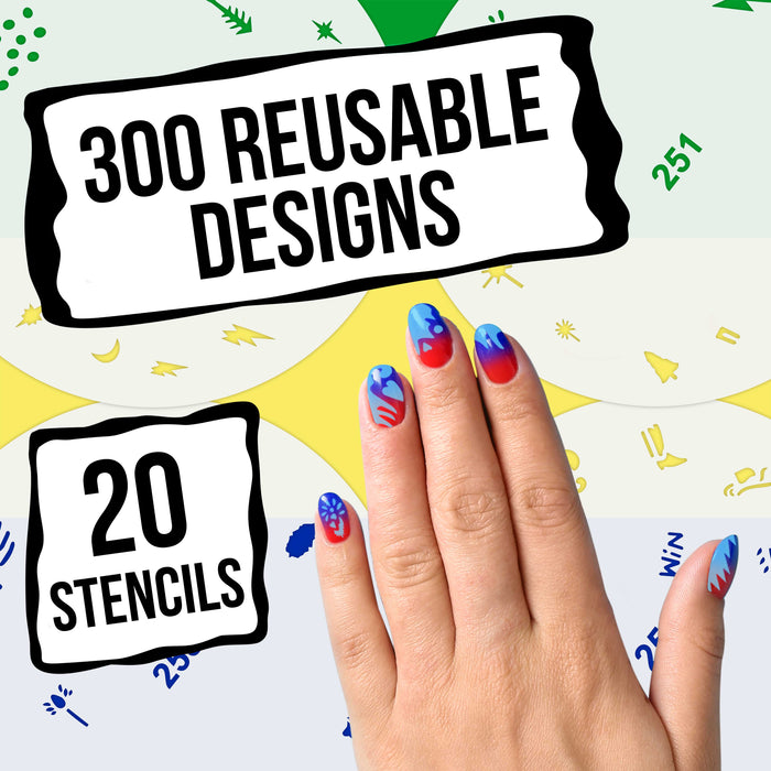 Airbrush Nail Stencils - Design Series Set # 13 Includes 20 Individual Nail Templates with 17 Designs each for a total of 340 Designs of Series #13