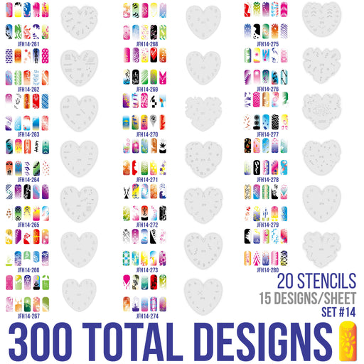 Airbrush Nail Stencils - Design Series Set # 14 Includes 20 Individual Nail Templates with 16 Designs each for a total of 320 Designs of Series #14