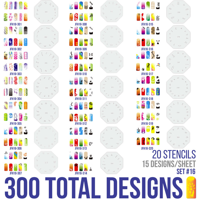 Airbrush Nail Stencils - Design Series Set # 16 Includes 20 Individual Nail Templates with 13 Designs each for a total of 260 Designs of Series #16