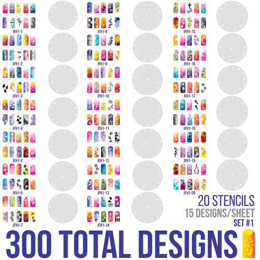 Airbrush Nail Stencils - Design Series Set # 1 Includes 20 Individual Nail Templates with 13 Designs each for a total 260 Designs of Series #1