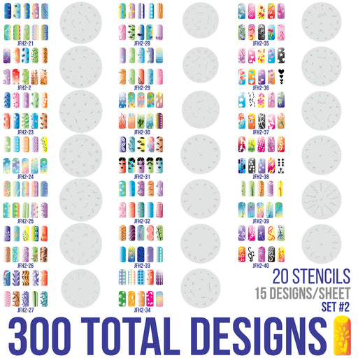 Airbrush Nail Stencils - Design Series Set # 2 Includes 20 Individual Nail Templates with 16 Designs each for a total 320 Designs of Series #2
