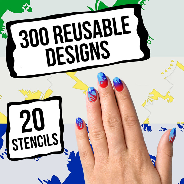 Airbrush Nail Stencils - Design Series Set # 3 Includes 20 Individual Nail Templates with 12 Designs each for a total of 240 Designs of Series #3