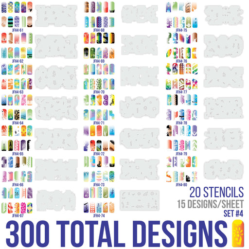 Airbrush Nail Stencils - Design Series Set # 4 Includes 20 Individual Nail Templates with 16 Designs each for a total of 320 Designs of Series #4