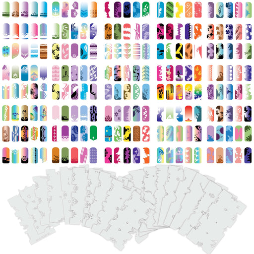 Airbrush Nail Stencils - Design Series Set # 5 Includes 20 Individual Nail Templates with 13 Designs each for a total of 260 Designs of Series #5