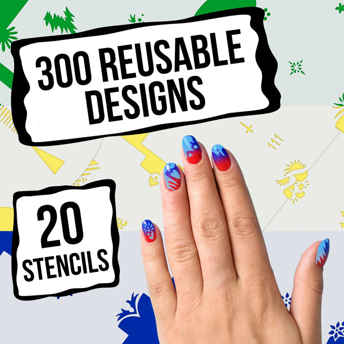 Airbrush Nail Stencils - Design Series Set # 6 Includes 20 Individual Nail Templates with 14 Designs each for a total of 280 Designs of Series #6
