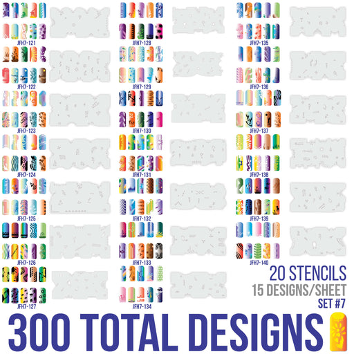 Airbrush Nail Stencils - Design Series Set # 7 Includes 20 Individual Nail Templates with 16 Designs each for a total of 320 Designs of Series #7
