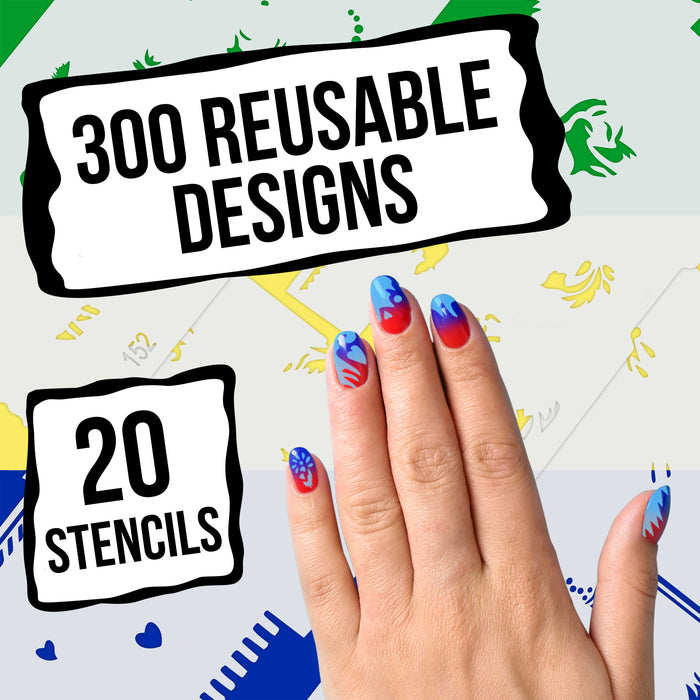 Airbrush Nail Stencils - Design Series Set # 8 Includes 20 Individual Nail Templates with 16 Designs each for a total of 320 Designs of Series #8