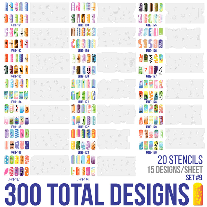 Airbrush Nail Stencils - Design Series Set # 9 Includes 20 Individual Nail Templates with 15 Designs each for a total of 300 Designs of Series #9