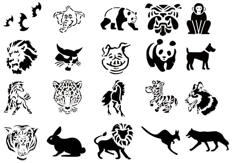 Self Adhesive Airbrush Tattoo Stencils Set 50 Book of 20 Animals Design Reusable