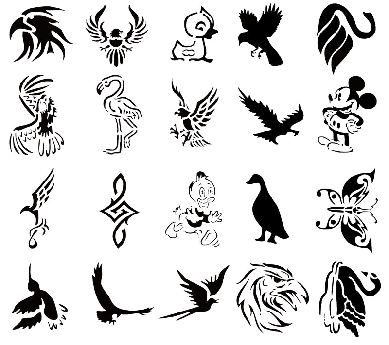 Self Adhesive Airbrush Tattoo Stencil Set Book of 20 Bird Designs Templates
