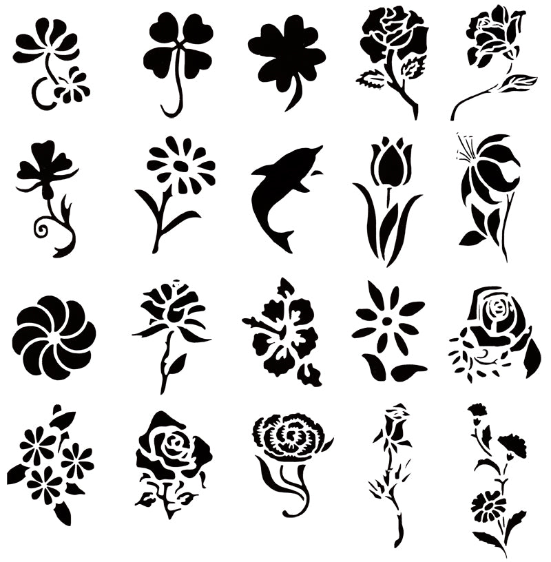 Self Adhesive Airbrush Tattoo Stencil Set 53 Book of 20 Flower Designs Templates