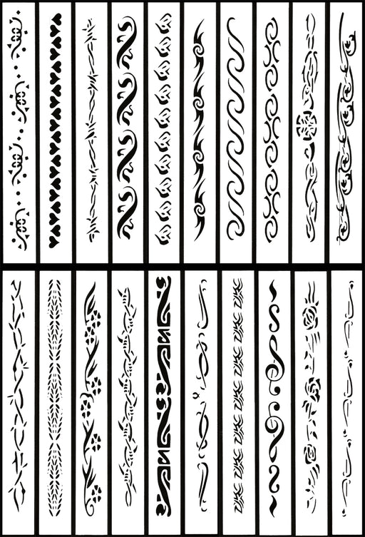 Self Adhesive Airbrush Body Tattoos Stencil Set Book of 20 Armband Designs
