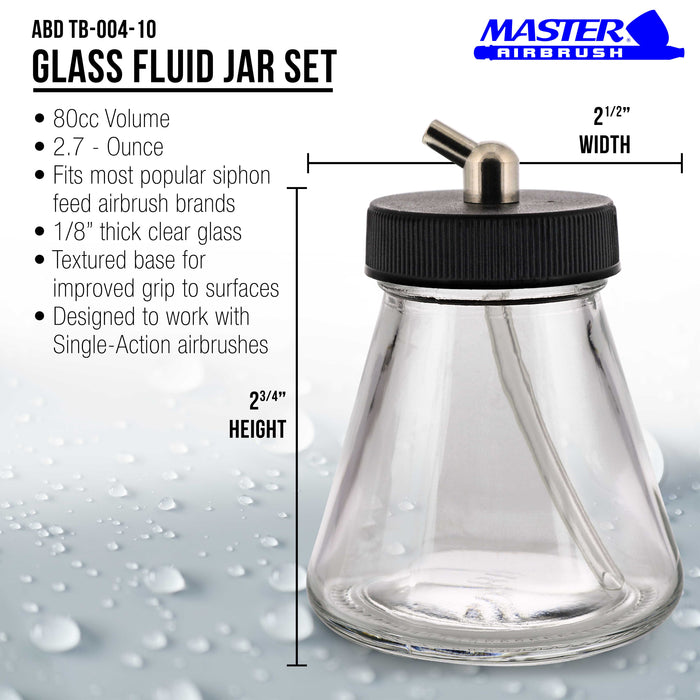 10 Pack Master Airbrush TB-004, 2.7 oz Glass Jar Bottles with 60­ Down Angle Adaptor Lid Assembly, Single-Action Siphon