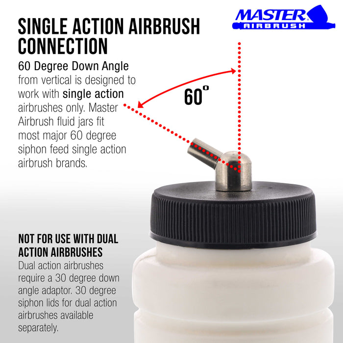 10 Pack Master Airbrush TB-004, 2.7oz Plastic Jar Bottles with 60° Down Angle Adaptor Lid Assembly, Single-Action Siphon
