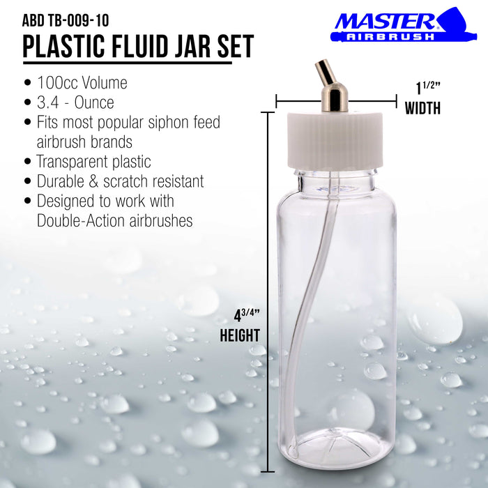 10 Pack Master Airbrush TB-009, 3.4oz Plastic Jar Bottles with 60­ Down Angle Adaptor Lid Assembly, Single-Action Siphon