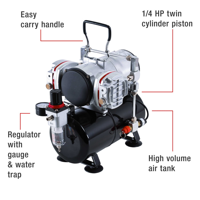 Professional High Performance Twin Cylinder Piston Airbrush Air Compressor with Air Storage Tank, Regulator, Gauge & Water Trap Filter