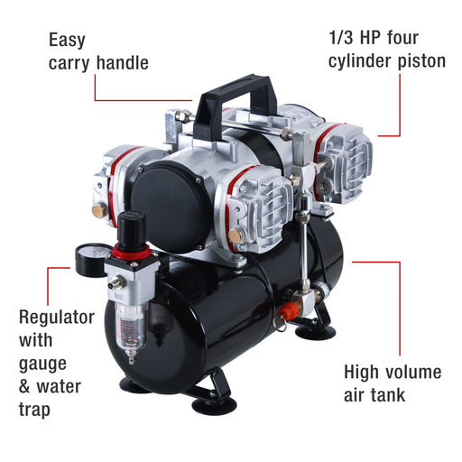 Professional High Performance 4 Cylinder Piston Airbrush Air Compressor with Air Storage Tank, Regulator, Gauge & Water Trap Filter
