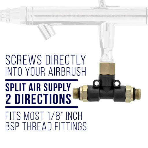 "2 Way Airbrush Air Hose Splitter Manifold with 1/8"" BSP Fittings; 2 Male Air Outlets and 1 Female Air Inlet"
