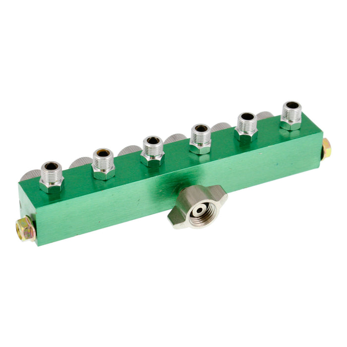 "6 Way Air Hose Splitter with Metered Airbrush Manifold with 1/4"" BSP Female Air Inlet & 6 - 1/8"" BSP Male Air Outlets"