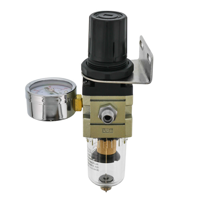 Heavy Duty True Diaphragm Mini Regulator with Gauge and Water Trap Filter, Fits Airbrush Compressors