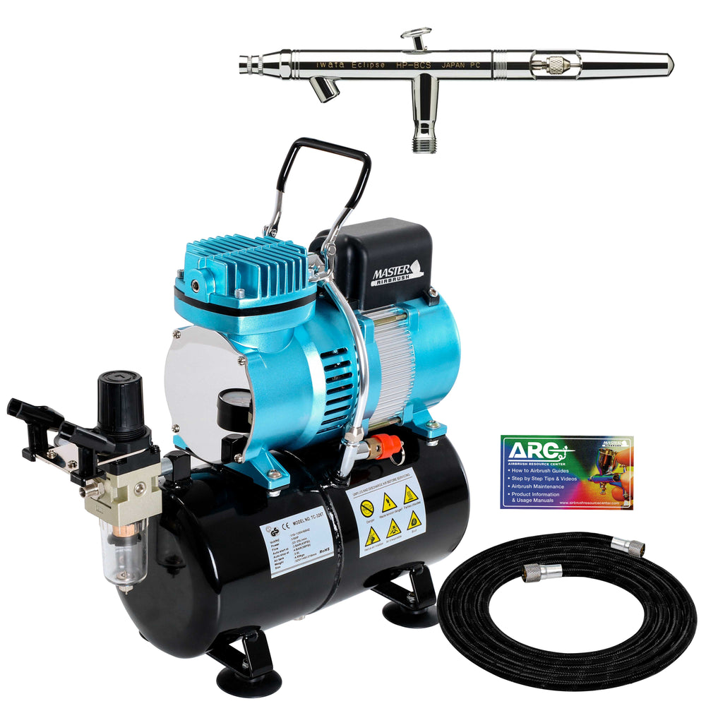 Iwata Eclipse HP-BCS 4200 Airbrush Kit with Master Airbrush Cool Runner II Dual Fan Air Tank Compressor