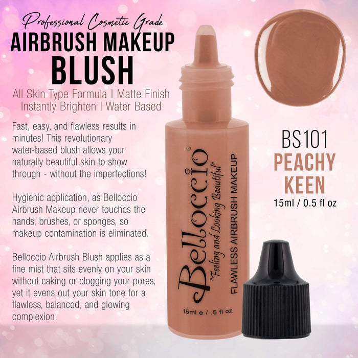 PEACHY KEEN Color Shade Belloccio Professional Airbrush Makeup Blush, 1/2 oz.