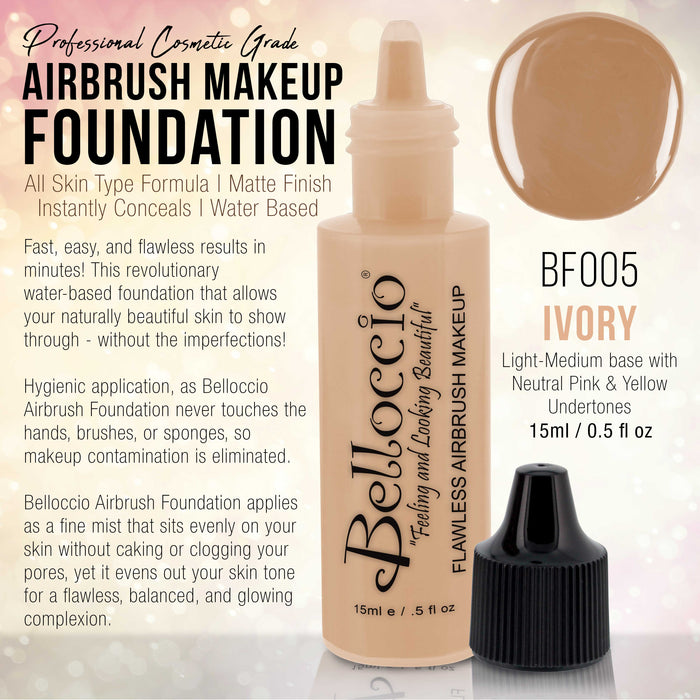 IVORY Color Shade Belloccio Professional Airbrush Makeup Foundation, 1/2 oz.