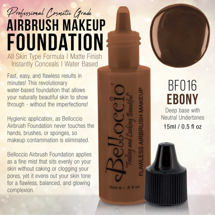 EBONY Color Shade Belloccio Professional Airbrush Makeup Foundation, 1/2 oz.