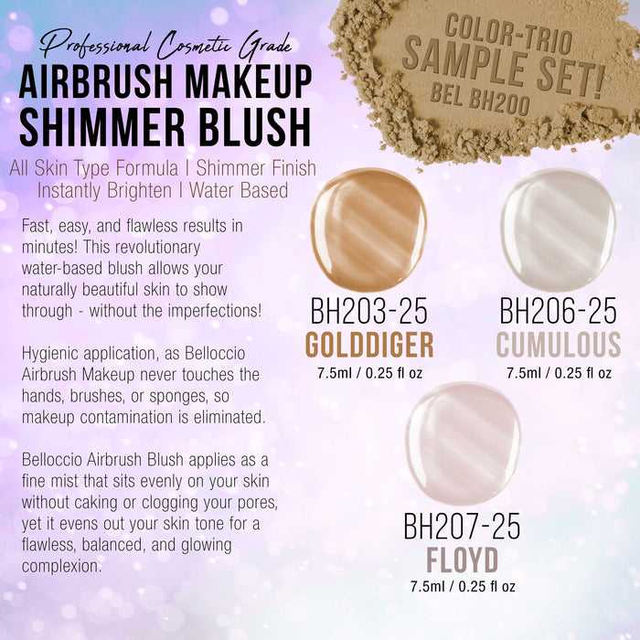 Shimmer Shade Set (Trio Set) of Belloccio's Professional Airbrush Makeup in 1/4 oz. Bottles (NEW FORMULA)