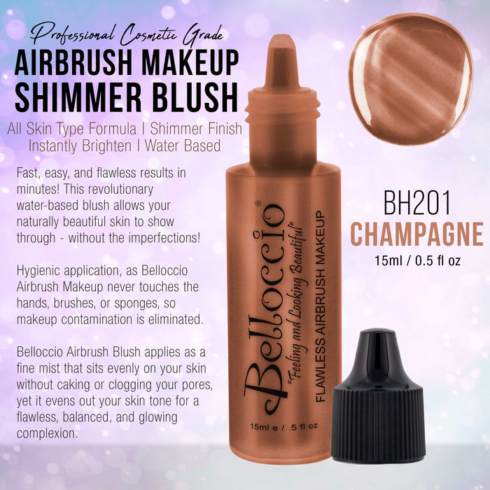 CHAMPAGNE Shimmer Shade Belloccio Professional Airbrush Makeup Shimmer Highlighter, Bronzer, 1/2 oz.