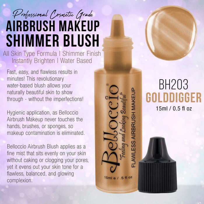 GOLDDIGGER Shimmer Shade Belloccio Professional Airbrush Makeup Shimmer Highlighter, 1/2 oz. (NEW FORMULA)