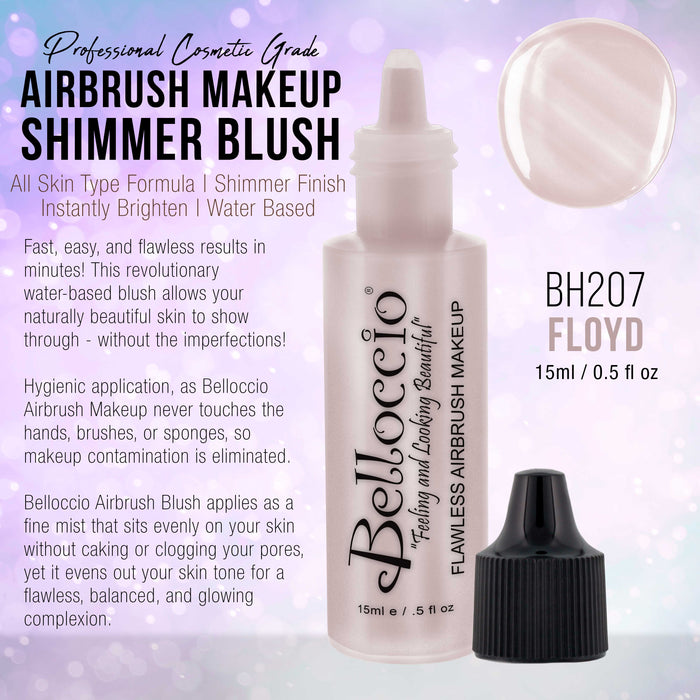 FLOYD Shimmer Shade Belloccio Professional Airbrush Makeup Shimmer Highlighter, 1/2 oz. (NEW FORMULA)