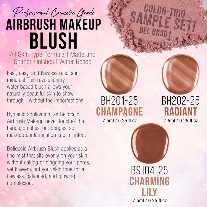 Blush, Shimmer and Bronzer Shade Set (Trio Set) of Belloccio's Professional Airbrush Makeup in 1/4 oz. Bottles